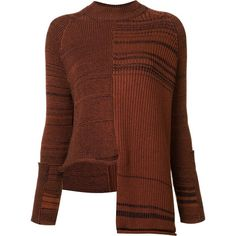 Stella McCartney Long Sleeve Asymmetrical Striped Sweater (1 633 360 LBP) ❤ liked on Polyvore featuring tops, sweaters, fine lines, kirna zabete, kzloves, brown top, asymmetrical hem top, stella mccartney sweater, stella mccartney and stella mccartney top