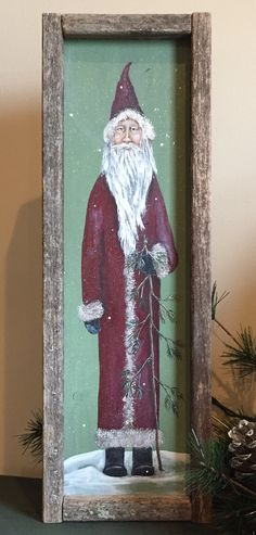 Father Christmas painted on wood by Deb. Christmas Canvas, Primitive Christmas, Father Christmas, Christmas Signs, Felt Christmas, Country Christmas, Outdoor Christmas, Homemade Christmas, Christmas Projects