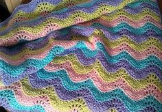Pastel Heaven Baby Blanket - Sweet pastel shades make this gentle ripple baby blanket the perfect gender-neutral gift