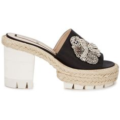 Womens Mules No.21 Black Crystal-embellished Satin Mules (2.515 BRL) ❤ liked on Polyvore featuring shoes, black espadrilles, open toe shoes, slip-on shoes, black high heel shoes and black mule shoes