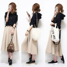 Modest Outfits, Cool Outfits, Casual Outfits, Japanese Outfits, Japanese Fashion, Girl Fashion, Fashion Outfits, Womens Fashion, Long Skirt Fashion