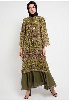 Wanita Baju Muslim Dress Muslim Gamis Gamis Etnik Kamilaa