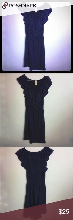 Navy Bee Stitched (Francesca's) High Low Dress Navy Bee Stitched (Francesca's) High Low Dress with Ruffles - Size S - in great condition Francesca's Collections Dresses High Low
