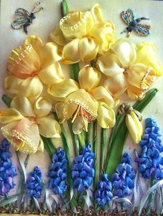 Silk ribbon Daffodils and Hyacinth, amazing talent