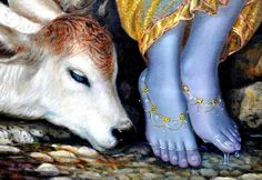 Giriraj das: When a devotee wants to see the transcendental form of the Lord, he begins his meditation on the Lord's body by first looking at the feet of the Lord. Hare Krishna, Krishna Statue, Krishna Leela, Krishna Love, Krishna Radha, Lord Krishna Images, Radha Krishna Pictures, Krishna Birth, Shree Krishna Wallpapers