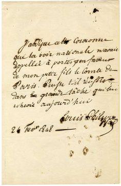 Louis-Philippe: Acte d'abdication, rédigé par le roi le 24 février 1848 et signé de sa main. 1 page in-folio.  L'original est aux Archives nationales (N° d'inventaire AEII1949), il s'agit ici du double écrit à l'époque par le roi.  Document historique écrit durant les événements douloureux de l'insurrection de février 1848