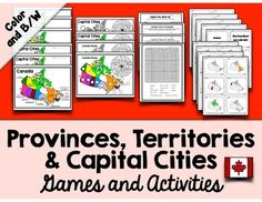 Canada - Provinces, Territories and Capital Cities Games and Activites Reading Response Journals, Engage Ny, School Safety, Canadian History, Word Problems, Interactive Notebooks, Guided Reading, Capital City, Student Learning