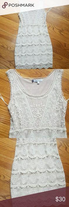 Jennifer Lopez Crochet Dress NWOT, Jennifer Lopez size xs Cream Colored and fully lined Crochet Dress, very pretty on Jennifer Lopez Dresses