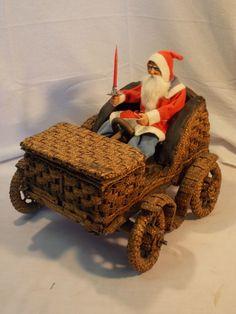 1910-20 German Antique Wicker Car Candy Container for Santa - Auto / Automobile