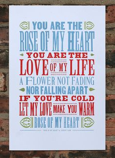 Rose Of My Heart letterpress print by starshapedpress on Etsy, $25.00