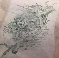 Japanese Tattoo Art, Japanese Sleeve Tattoos, Japanese Art, Fantasy Dragon, Dragon Art, Tatau Tattoo, Dragon Anatomy, Dragon Sketch, Asian Tattoos