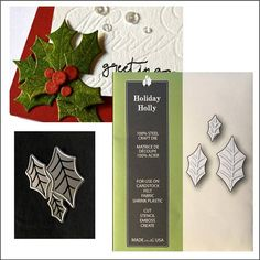 Christmas Holiday Holly leaves metal die by Poppystamps