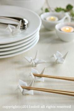 折り鶴・箸置き・5個セット ホワイト【楽天市場】