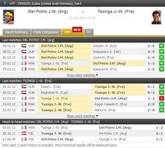 J.M. Del Potro vs J.-W. Tsonga in the quarter-finals in Dubai. LIVE: http://www.FlashScore.com/match/Uo5zrIWo
