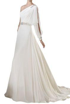 Elegant Empire One-shoulder Beading Long Sleeve Chiffon Wedding Dress (14, White) Crystal Dresses,http://www.amazon.com/dp/B00FOKZC7C/ref=cm_sw_r_pi_dp_NfDTsb0ZK3HP84P4