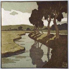 Daniel Staschus (1872-1952) Trees along a Stream. Woodblock Print. Circa 1900-1910.