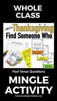 After Thanksgiving break, it's time to get your students speaking using the Past Simple.