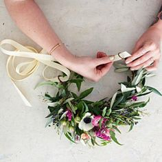 Easy step by step for creating a floral crown