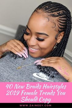 40 New Braids Hairstyles 2019 Female Trends You Should Copy New Braids Hairstyles 2019 Female. These are new braids inspiration you need to try next. Check them out and you'll fall in love with th Box Braids Hairstyles For Black Women, Sporty Hairstyles, Try On Hairstyles, Braided Hairstyles For Black Women, African Braids Hairstyles, Braids For Black Hair, My Hairstyle, African Hair Braiding, Natural Cornrow Hairstyles