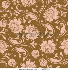 Seamless floral pattern. Flowers on a gold background.