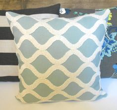 Light spa blue and cream tufted trellis by pillowflightpdx on Etsy