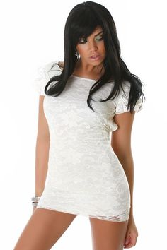 Elegant Evening Dress With Lace Satin White