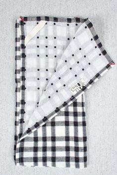 Checks & Dots Tea Towel in Black by Small Gunns - Beam & Anchor