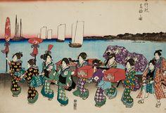 Utagawa Hiroshige (1797-1858)  a) Horizontal ôban triptych. Title: Onna gyôretsu kôron no zu. A long procession of female daimyô. Signed: unread. Publisher: Sanoya Kihei. Censor: kiwame. b) Ôban triptych. Series: Setsugekka no uchi. Title: Tsuki no yûkaku? Three women on an engawa. Signed: Hiroshige ga. Seal. Publisher: Ibaya Sensaburô. Censors: Yoshimura and Muramatsu. (2) Good impressions, a) still very good colours, slightly yellowed, slightly soiled and creased, margins trimmed, b) fair…