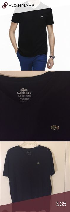 Men's Lacoste V-Neck Cotton Jersey T-Shirt - Large Great short sleeve t-shirt.  Excellent condition.  - 100% Cotton - Regular Fit - Pima Cotton Jersey - V-Neck Lacoste Shirts Tees - Short Sleeve