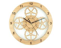 This modern wall clock is called Planetary gears and the unique design is based on a actual gear set comprising of a sun gear , a ring gear and 4