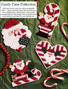 Candy Cane Santas Plastic Canvas Pattern ePattern - Leisure Arts