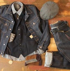 Allan Shirt from Nudie Jeans Co Bandana Brown from Stetsdon Popeye Talisman & Zippo from Feinschmuck Work Fashion, Denim Fashion, Outfit Grid, Nudie Jeans, Raw Denim, Denim Outfit, Well Dressed Men, Looks Style, Men Looks