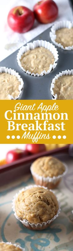 Giant Apple Cinnamon Breakfast Muffins. Quick and easy large Apple Cinnamon Breakfast Muffins, no mixer needed! Moist and full of fall flavor, these breakfast muffins are your perfect way to start the morning. Grab the full recipe by clicking through! | SeasonlyCreations.com | @SeasonlyBlog