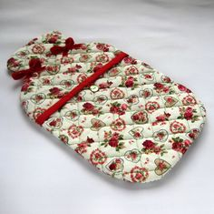 Hand Quilted Hot Water Bottle Cover in Romantic Hearts and Roses Print Fabric £20.00