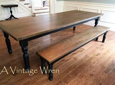 """A 9' custom made Cherry farm table, with a match to  """"Special Walnut"""" stain and black rub through distress base. This table is part of our """"Heirloom Collection"""" https://www.facebook.com/AVintageWren"""