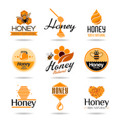 Creative honey logos desing vector 01