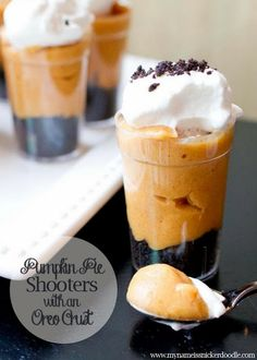 Pumpkin Pie Shooters with an Oreo Crust
