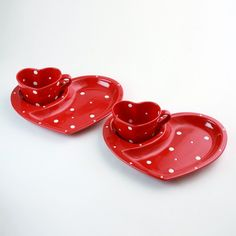 temp-tations® by Tara: temp-tations® Polka Dot Heart-Shaped Plate and Mug Set