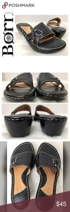 """Born Signature Leather Sandals Born Signature Leather Sandals in Classic Black with White Stitching, Size 6 Tag with a 2"""" Heel, A few Scuff Marks as shown used in pictures, used in Excellent Condition Born Shoes Sandals"""