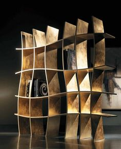 If you need something contemporary to complete your artistic room interior decoration, these curve bookcase design is the most beautiful to have. Bookcase that Funky Furniture, Unique Furniture, Furniture Sets, Furniture Design, Luxury Furniture, Furniture Online, Garden Furniture, Creative Bookshelves, Bookshelf Design