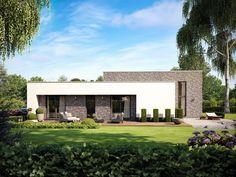 Komfortables Wohnen auf einer Ebene mit rund 142 qm bietet der Flachdach-Bungalow Trend 4000.2 von Deutsche Bauwelten.
