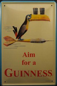Metal Tin Plate Sign Aim for a Guinness Black Beer Poster Vintage Decor - from $9.99  Evette-  tins signs would look cool in the basement.