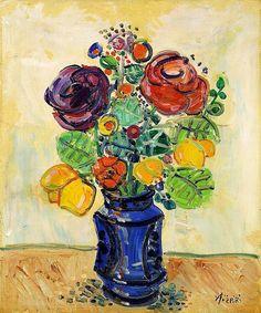 Paul Aizpiri - Fleurs, oil on canvas, 65.0 x 54.0cm.