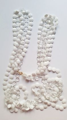 Double Strand of White and Clear Flat Disk Beads for Crafting by TheSparklingGallery on Etsy