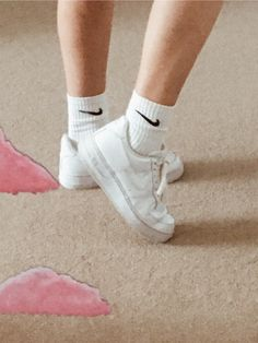 #mirror #nike #nikesocks #airforce1 #mirrorpainting #clouds #aesthetic #pink #legs #girl Ballet Dance, Dance Shoes, Mirror Painting, Nike Socks, Air Force 1, I Got This, Vsco, My Photos, Slippers