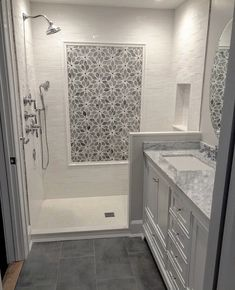 29 Popular Bathroom Shower Tile Design Ideas And Makeover. If you are looking for Bathroom Shower Tile Design Ideas And Makeover, You come to the right place. Here are the Bathroom Shower Tile Design. Bathroom Floor Tiles, Bathroom Renos, Grey Bathrooms, Beautiful Bathrooms, Bathroom Renovations, Bathroom Fixtures, Shower Tiles, Remodel Bathroom, Small Bathroom Showers