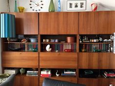 And one last photo of my favorite corner of the living room: the bar/bookshelf walnut German modular wall unit, and one of my two Mad Men lamps. ☺️ Becky from Iowa