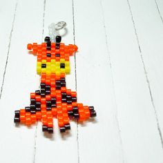 Giraffe Seed Bead Pendant - Charm, Peyote Stitch Bead Weaving, Cute Animal Jewelry