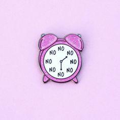 No O'Clock Pin, Enamel Pin, Pink Glitter, alarm clock, gold metal, hard enamel, brooche, clock