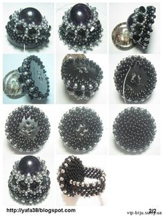 Beaded ring on a button Diy Jewelry Rings, Bead Jewellery, Beaded Rings, Jewelry Crafts, Jewelry Making, Beaded Bracelets, Beading Tutorials, Beading Patterns, Ring Tutorial